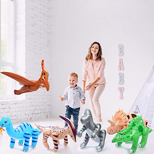 Fun Central BC545 Pack of 6 pcs 24 Inch Inflatable Dinosaurs, Dinosaurs Vinyl, Dinosaur inflatable Pool, Jumbo Dinosaurs -for Children Party Favors, Pool, Prizes, Birthday Gifts, Decorations- -