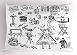 Ambesonne Movie Theater Pillow Sham, Hand Drawn Symbols of Hollywood Oscar 3D Glasses Sketch Style Arrangement, Decorative Standard Queen Size Printed Pillowcase, 30 X 20 Inches, Black White