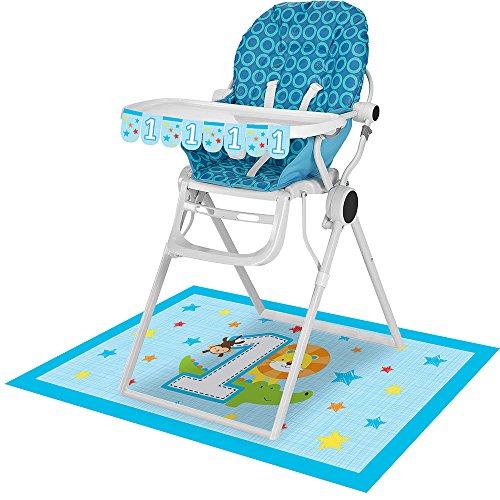 Boy High Chair Kit - Creative Converting 324600, 1St Birthday High Chair kit, One is Fun-Boy