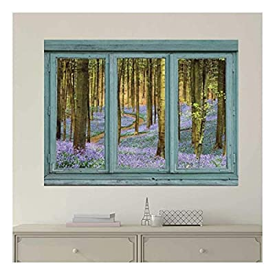 Vintage Teal Window Looking Out Into a Purple Field Forest Wall Mural, Made With Love, Charming Composition