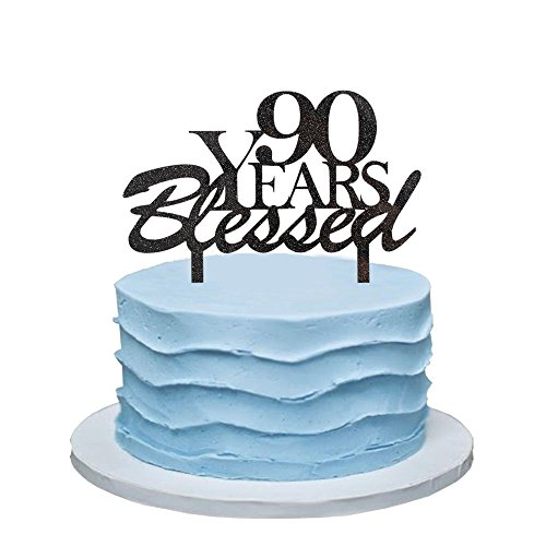 90 Years Blessed Cake Topper, 90th Birthday Party Decorations, 90th Wedding Anniversary Party Sign-Black Color