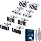 Velette Cuff Links & Collar Stays - Stainless Steel Combination Set with 4 Pairs of Cufflinks and 8 Collar Stays