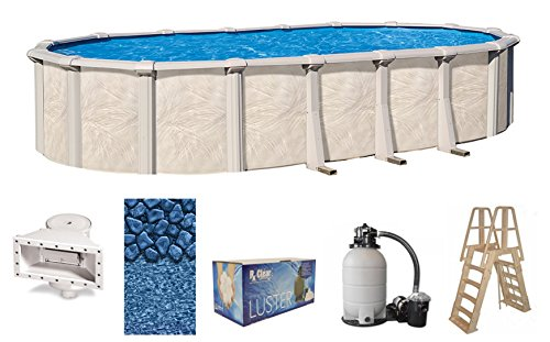 Wilbar Fallston 18 Foot x 33 Foot x 52 Inch Oval Above-Ground Complete Swimming Pool Kit-Bundle Includes Liner Skimmer Ladder Pump and Filter (Ground Frame Pools Above Resin)