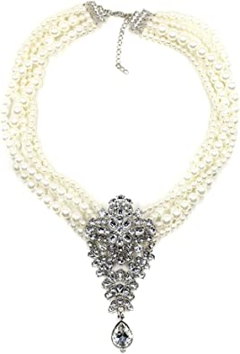 Elegant Pearl Statement Necklace Charm for Women Choker Gold Cluster Diamond
