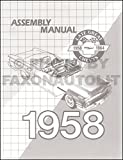 1958 Chevy Car Assembly Manual Biscayne Bel Air Impala El Camino Nomad