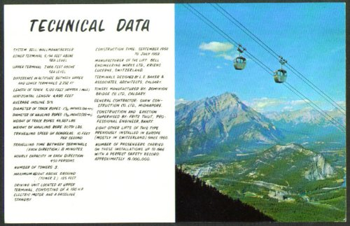 (Banff Sulphur Mt Gondola Tech Data AB postcard 1950s)