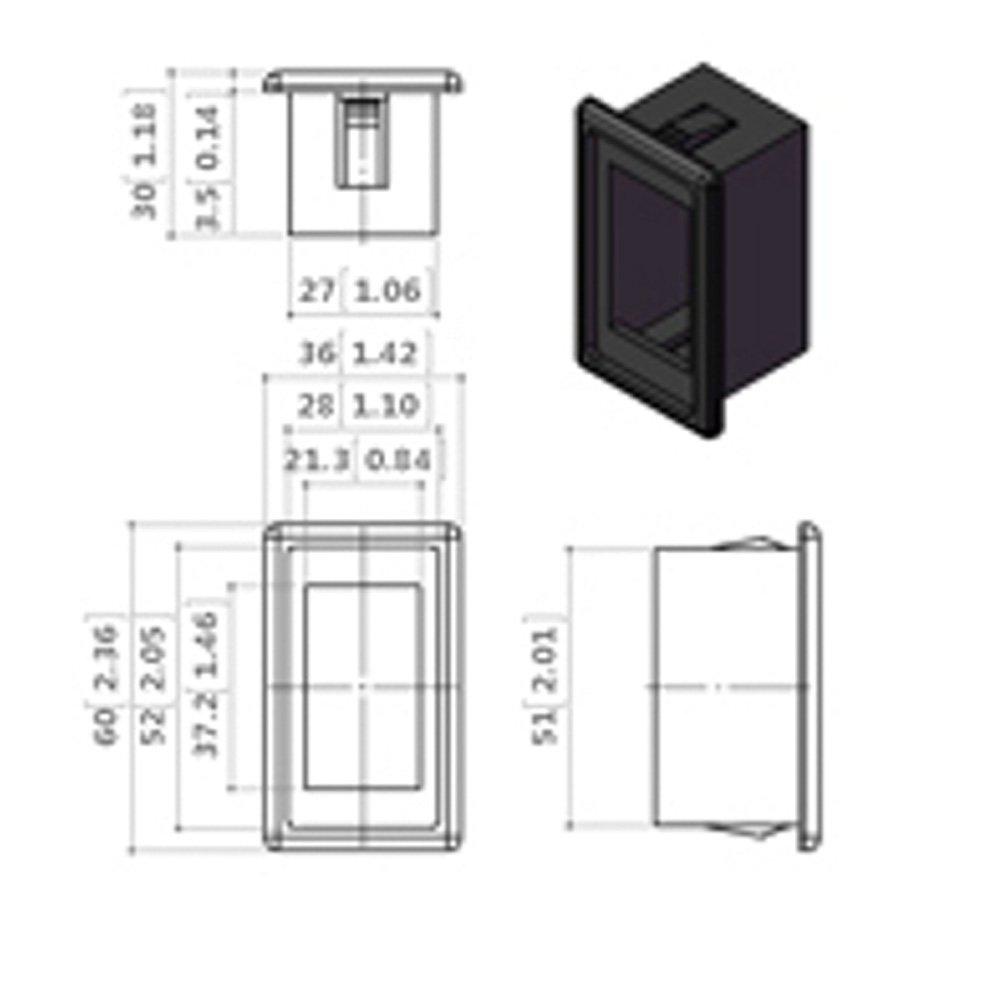 X-Haibei 1 Single Rocker Switch Panel Housing Switch Holder Black Plastic