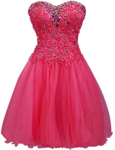 - Short Homecoming Dress Cocktail Dresses Lace Party Dress Strapless Prom Dress Sweetheart Homecoming Dresses Ball Gown Hot Pink US4