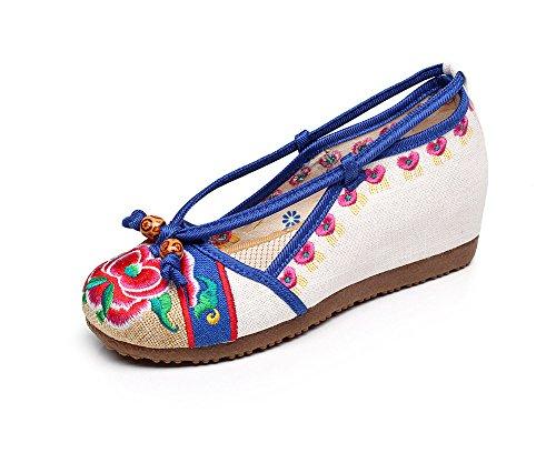 DESY Gestickte Schuhe, Sehnensohle, ethnischer Stil, weibliche Tuchschuhe, Mode, bequem, lässig meters white