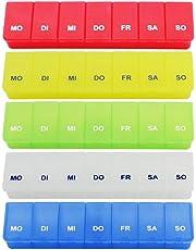com-four® Medikamenten-Box in tollen Farben, Aufbewahrung für 7 Tage