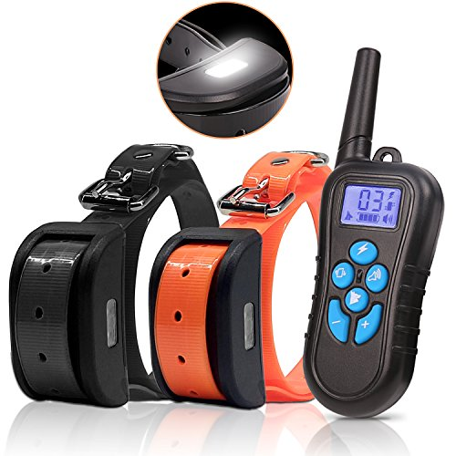 Dog Training Collar for 2 Dogs - Waterproof Shock Collar for Dogs Upgrade 550Yards Bark collar with Night light, Beep, Vibration and Electric Shocking, Rechargeable for all sizes Up to 3 Dogs by IB SOUND