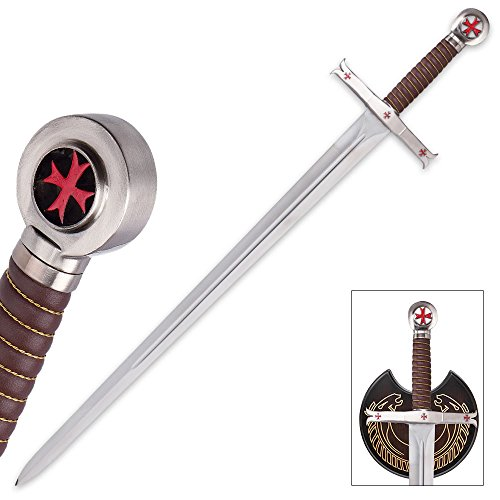 (K EXCLUSIVE Crusader Knights Templar Sword with Wooden Display Plaque)