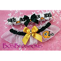 Customizable - Green Bay Packers white fabric handmade into bridal prom white organza wedding garter set with hand tied bows