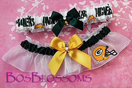 Customizable - Green Bay Packers white fabric handmade into bridal prom white organza wedding garter set with hand tied bows by BOYX Designs