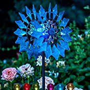 Solar Wind Spinner New Azure 190cm (75inches) Multi-Color Seasonal LED Lighting Solar Powered Glass Ball with