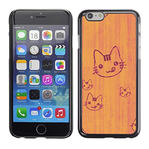TopCaseStore / caoutchouc Hard Case Housse de protection la Peau - Cat Cute Tongue Licking Simple Drawing Art - Apple iPhone 6 Plus 5.5