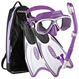 Cressi Palau Long Mask Fin Snorkel Set, Brisbane Lilac, X-Small/Small
