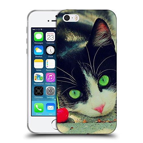 Just Phone Cases Coque de Protection TPU Silicone Case pour // V00004313 chat aux yeux verts avec la cerise // Apple iPhone 5 5S 5G SE