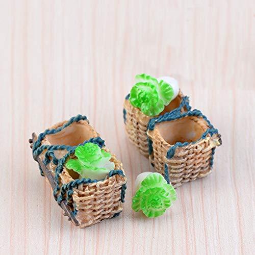 ZAMTAC 12pcs Rattan Basket Cabbage Fairy Garden Miniatures DIY Doll House Terrarium Micro Landscape Succulents Home Decoration ()