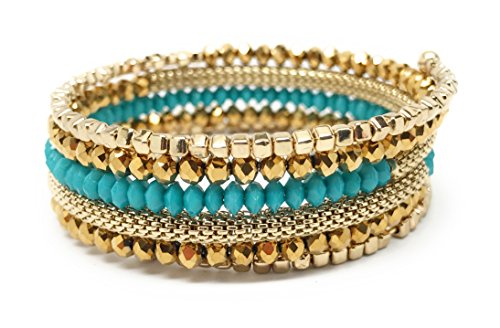 Loviea Multi Row Wrap Around Bracelet Coil Bangle Turquoise Bracelet Wrap Bangle for Everyday, Wedding, - Coil Bracelet Row