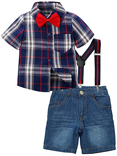 ZOEREA Toddlers Baby Boys Kids Formal Outfit Suit Set, Plaids Shirt + Suspender Pants + Bow Ties (0-7 Years) (Blue2, Label 140/Age 6-7 Years)