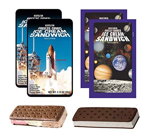 - LuvyDuvy Freeze Dried Ice Cream Astronaut Food Bundle (2) of Neapolitan Sandwich (Strawberry-Vanilla-Chocolate) and (2) of Vanilla Sandwiches 4 Total