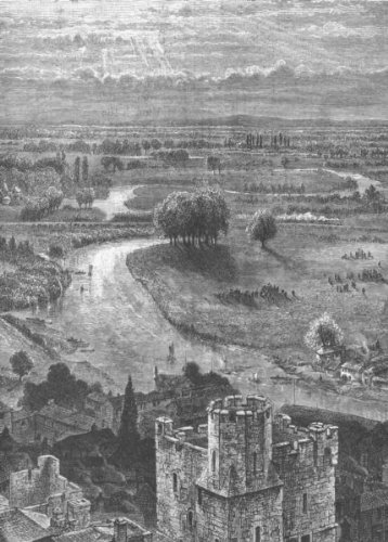 THAMES VALLEY. View from the Round Tower, Windsor Castle - 1893 - old print - antique print - vintage print - printed prints of Berks