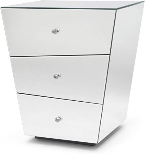 Zuri Furniture Vailan 3 Drawer Mirrored Modern Night Stand