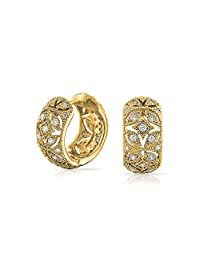 Bling Jewelry Gold Plated CZ Vintage Style Flower Huggie Hoop Earrings