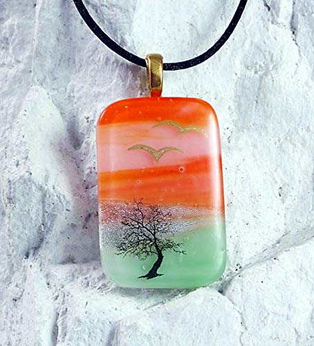 A Simple Tree Handcrafted Scenic Art Dichroic Fused Glass Pendant w Necklace S26