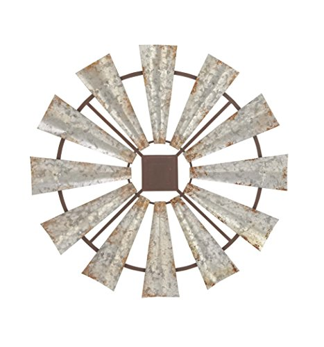 - Deco 79 Indoor/Outdoor Large Brown & Silver Metal Windmill Fall Summer, Farmhouse Wall, Patio Decor, 30