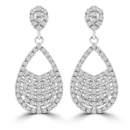 2.08 ct ttw Ladies Round Cut Diamond Drop Dangling Earrings (G Color SI-1 Clarity) In 14 Kt White Gold