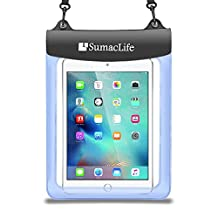 SumacLife Universal Waterproof Dirt Snow Sand Proof Case Pouch Bag for iPad / Pro / Samsung Galaxy / ASUS / Lenovo / HP / Surface / Dragon Touch / iRULU Fit 9 9.6 9.7 10.1 10.6 inch Tablet Blue