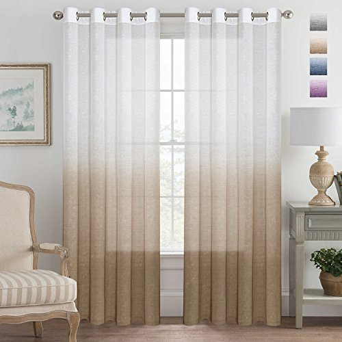 Soft and Natural Linen Blended Semi-Sheer Privacy Assured Ombre Curtains Energy Smart Nickel Grommet Curtain Panels with Adjustable Tie-Back -Set of 2, Taupe, 52x96 - (Contemporary Modern Curtain)