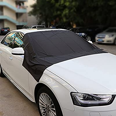 DDSKY Extra Large Car Windshield Cover with Magnetic Edges, Winter Wiper Protector for Snow, Ice and Frost Guard, Fit for Most Cars, Trucks, SUVs, & Vans (Black and Silver)