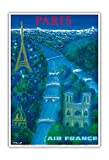 Paris - River Seine, Eiffel Tower, Notre Dame - France - Vintage Airline Travel Poster by Bernard Villemot c.1963 - Master Art Print - 13in x 19in