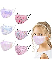 Woplagyreat 6 or 5 Pcs Kids Cloth Mask, Resusable Washable Fashion Designed Face Covering for School Outdoor