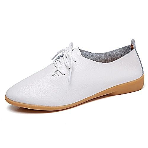 Mujeres Pisos Moda Mocasines Causal Cuero Genuino Zapatos de tacón de Encaje hasta Zapatos de Las señoras: Amazon.es: Zapatos y complementos