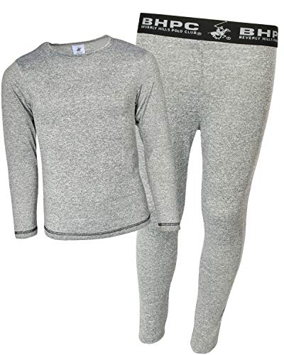 Beverly Hills Polo Club Boys 2-Piece Performance Thermal Underwear Set, Marled Grey, Size Small (6/7) (Performance Knit Thermal)