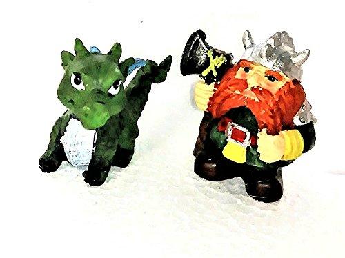 GC Viking Dragon Keeper with Axe and Green Dragon Miniature Fairy Garden Kit Axe Keeper