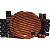 4th of July Solider Homecoming Celebration Patriotic Party Supplies Plates and Napkins Service for 16 with Bonus 8 x 11.5 Plege of Alligenace Keepsake Card and Flags