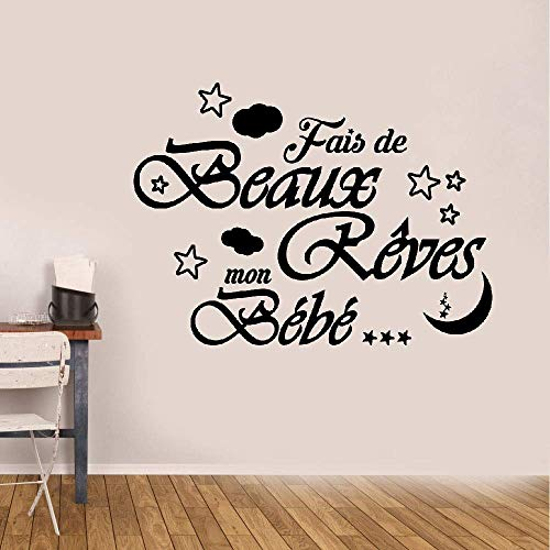 Setuis Wall Quotes Decal Wall Stickers Art Decor French Quote Fais De Beaux Rêves Mon Bébé for Nursery Kids Room Boys Girls Room for $<!--$11.79-->