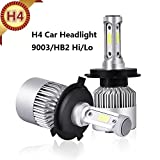 H4 LED Headlight Bulbs Hi/Lo Beam Auto Headlamp All-in-One Conversion Kit 72W 8000LM High Low Beam 6500K White COB 12V Replace Head light for Halogen HID Lighting S2 H1 H3 H7 H11 H13 9007(H4/9003/HB2)