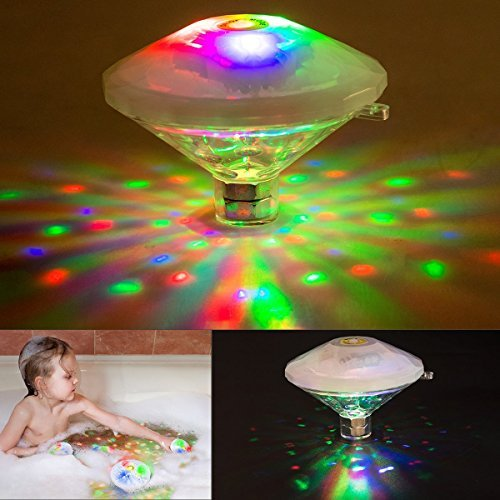 swimming pool lights Underwater Light Show,Changing Bath Light Toys for Kids(7 Lighting Modes), Waterproof Lightning Bulb Lamp Bath Toy, Colorful Floating Lights for Party Pond Spa Disco Bathtub by Schine