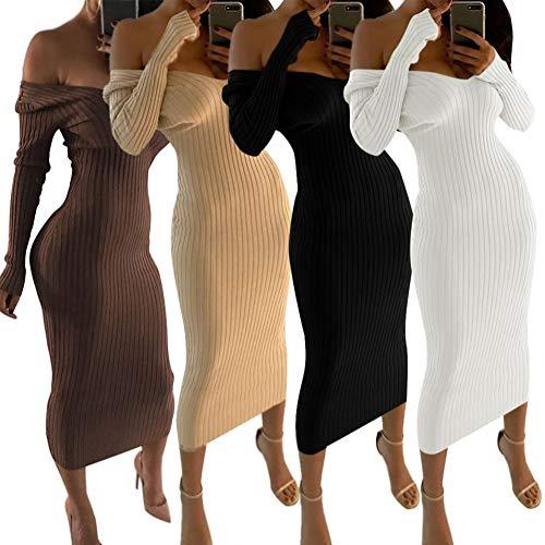 a2d054ec953 Asymétrique Tricoté Nu De Automne Robe Fente Femme Longues Pull Longue  Elégant Maxi Dos Col Café V Haute Manche Soirée Hiver Shallgood ...