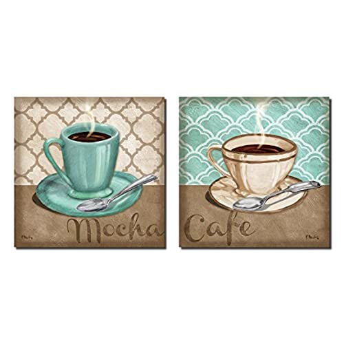 Wonderful Gango Home Decoru0027s Kitchen Collection  Patterned Trellis Cafe And Mocha  Quartrefoil Brown And Teal Cups Of Coffee By Paul Brent; Two 12x12 Unframed  Paper ... Design Ideas