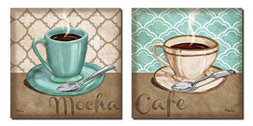 2 Trellis Cafe and Mocha Quartrefoil Brown and Teal Cups of Coffee; Two 12x12 Poster Prints