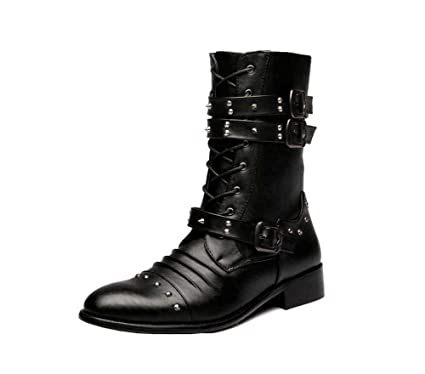 9596432922f4e4 Men Martin Boots Rivets Punk High Top Boots Pointed Toe Belt Buckle Casual  Dress Shoes Knight