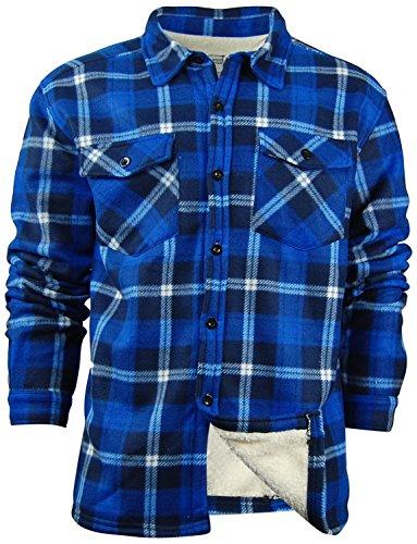 Sherpa Flannel Shirt (Oakwood Mountain Men's Sherpa Lined Flannel Shirt Jacket (X-Large, Royal))