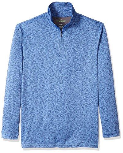 Haggar Men's Big and Tall Long Sleeve Athleisure Space Dye Quarter Zip, Ink Blue, Lt - Quarter Zip Shirt